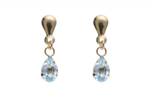 9 Carat Yellow Gold Blue Topaz Drop Earrings AP0321